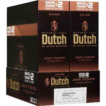 Dutch Masters Java Fusion cigarillos made in USA. 90 x 2 pack, 180 total. Free shipping!