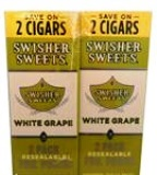 Swisher Sweets White Grape Cigarillos Foil Fresh made in USA, 90 x 2 pack, 180 total. Free shipping!